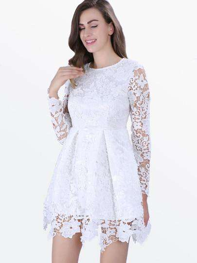 c07056ef6b5 Long Sleeve White Lace Flare Dress – Offer Factor