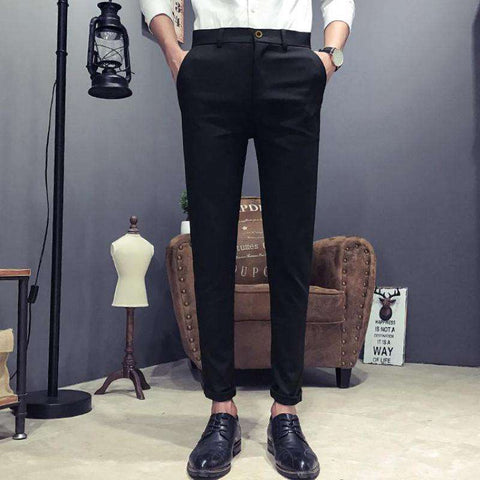 Men's Casual Slim Fit Wrinkle-Resistant Dress Pants Blak