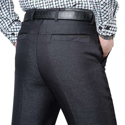 Men's Loose High Waist Straight Dress Pants Black