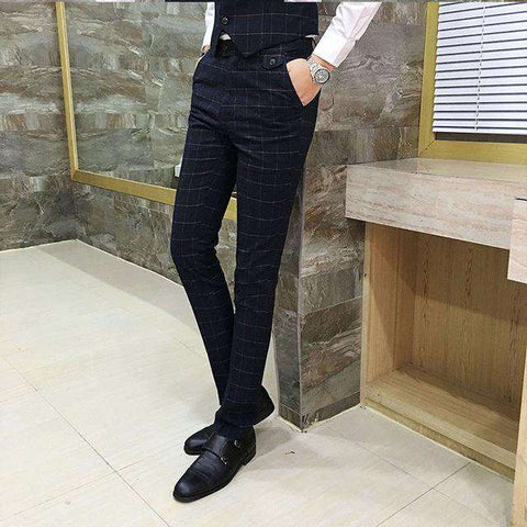 Men's Slim Fit Full Length Formal Skinny Dress Pants Black