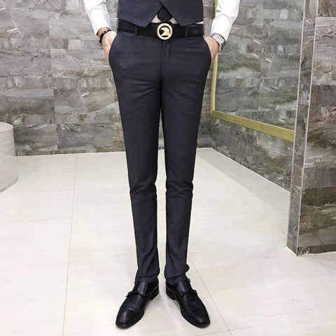 Men's Formal Full Length Slim Fit Casual Dress Pants Black