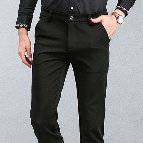 Men's Slim Tapered Stretchy Flat-Front Work Dress Pant Black
