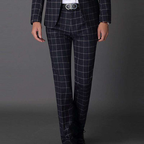 Men's Slim Fit Skinny Plaids Dress Pants Black