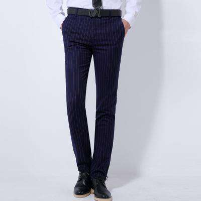 Men's Casual Striped Dress Pants Black