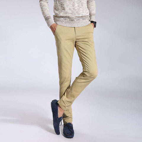Men's Straight Casual Slim Fit Dress Pants Beige
