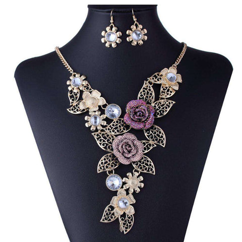 Elegant Floral Vintage Gold Necklace Jewelry Set