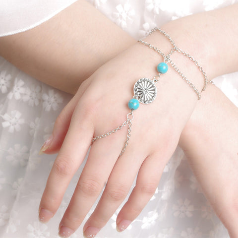Turquoise Bracelet Finger Ring Bangle Chain