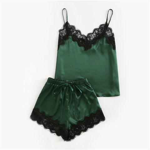 Sleepwear Army Green Spaghetti Strap V Neck Lace Set