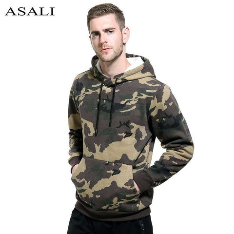 Military Thick Fleece Camouflage Men Hoodie