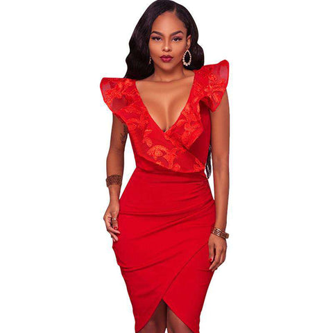 Elegant Lace Ruffle V Neck Red Bodycon Wrap Dress