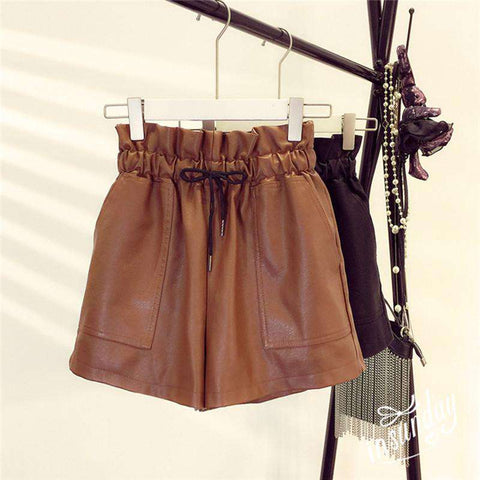Korean Style Elastic High Waist Sexy Wide Leg Leather Shorts