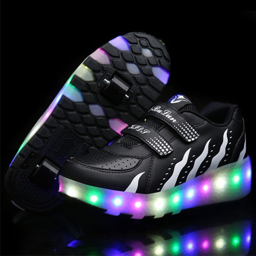 Women Led Light Double Wheel Breathable Glowing Walking Shoes