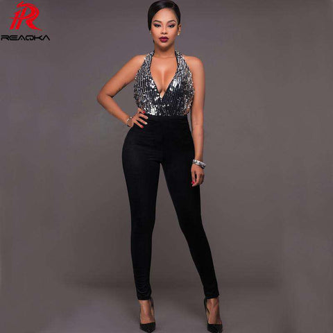 Deep V Neck Silver Sequins Backless Elegant Jumpsuit