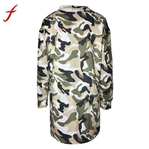 Camouflage Print long sleeves O Neck Casual Dress Womens