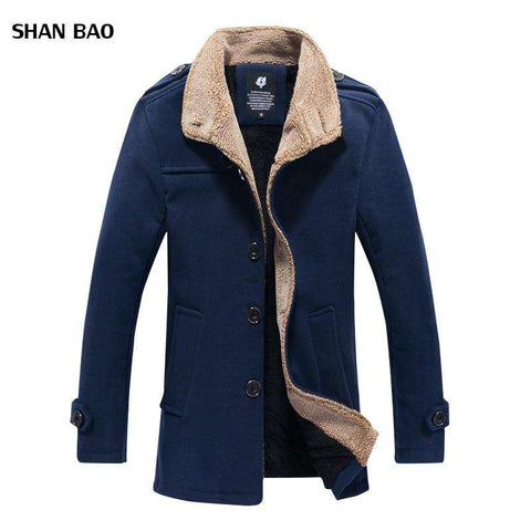 Mens Woolen Stand Collar Mid-Long Coat Peacoat