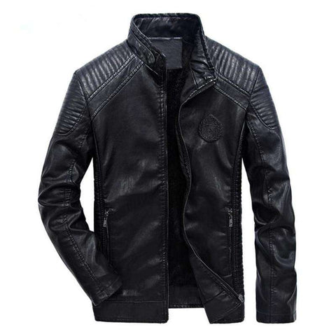 Men's motorcycle Slim Windproof Velvet Leather Jacket