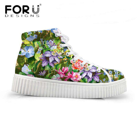 3D Floral Printed Platform Flat Casual Shoes