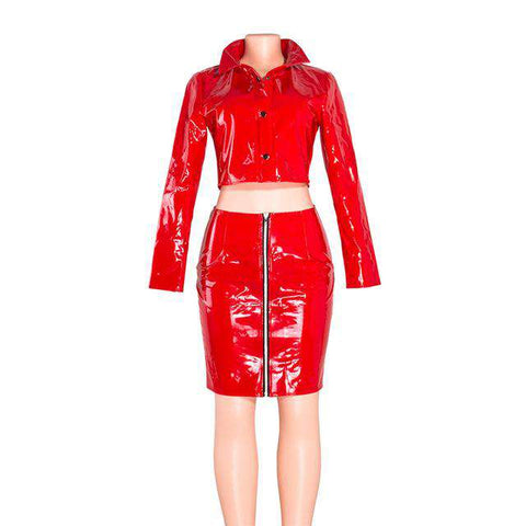PU Leather Long Sleeve Two Piece Mini Dress