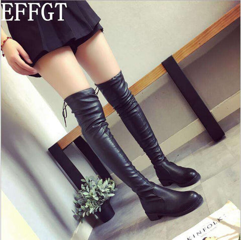 Over The Knee Winter Flat Long Boots Women