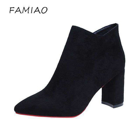 Flock Ankle Pointed Toe Red Bottoms Winter Women Boots