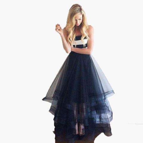 A Line Floor Length Tulle Long Formal Evening Skirt