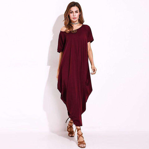 One Shoulder Baggy Long Shift Dress