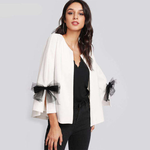 Elegant Coat Bell Sleeve Textured Blazer
