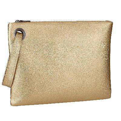 Luxury Gold Women Leather Envelope Clutch Bag