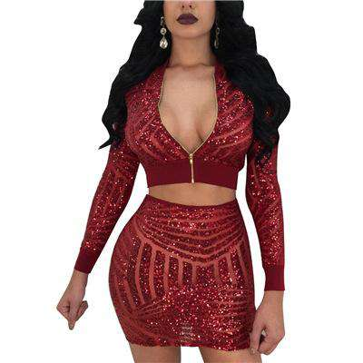 Crop Top Sequins Zipper V Neck Long Party Dress