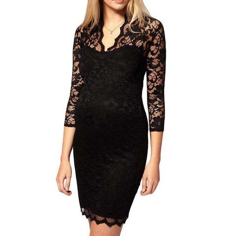 Elegant Floral Crochet V Neck Lace Dress Women