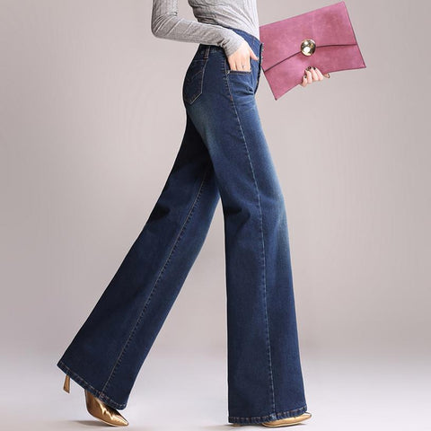 Full Length Plus Size High Waist Wide Leg Jeans Pant