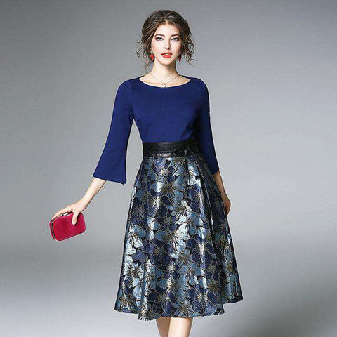 Flare Sleeve Formal Printed Floral Spring O Neck Office Dress