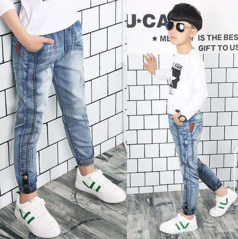 Spring solid denim thin Kids jeans long trousers