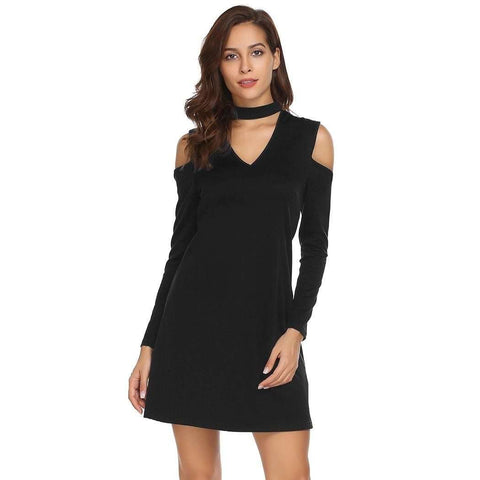 Choker V-Neck Long Sleeve Cold Shoulder Casual Dress