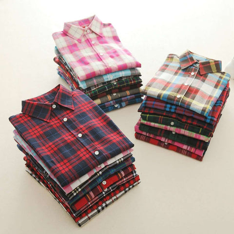 Long Sleeve Flannel Plaid College Style Shirt