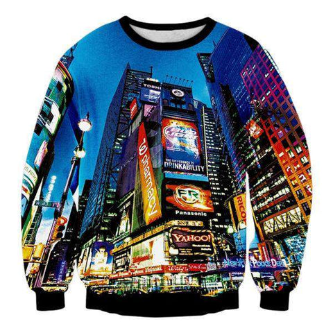 3D Sweatshirt New York City Times Square Printed Hoody Men