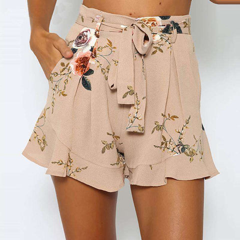 Printed Floral Summer Style Loose Belt Thin Mid Casual Short