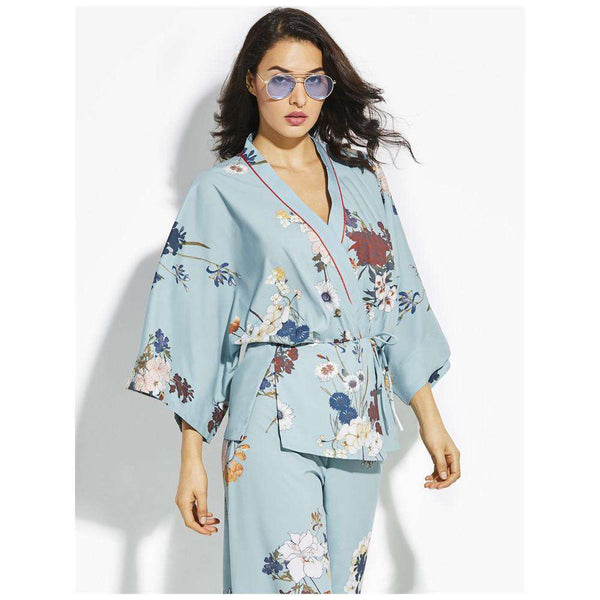 Mint Green Kimonos with Printed Florals