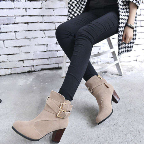 Belt Buckle Faux Boots with High Heels