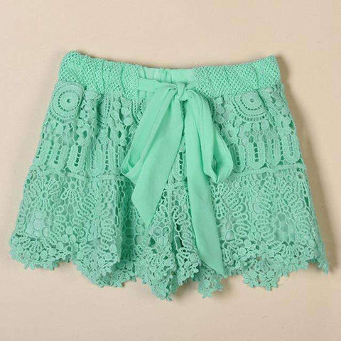 Plus Size Summer Casual Lace Drawstring Hollow Shorts