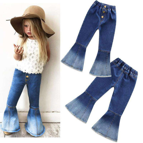 Bell-bottoms girls Kids Solid Vintage Jeans