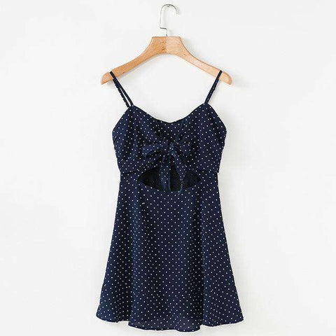 Bow Ruffle Polka Dot V-Neck Spaghetti Strap Backless Dress