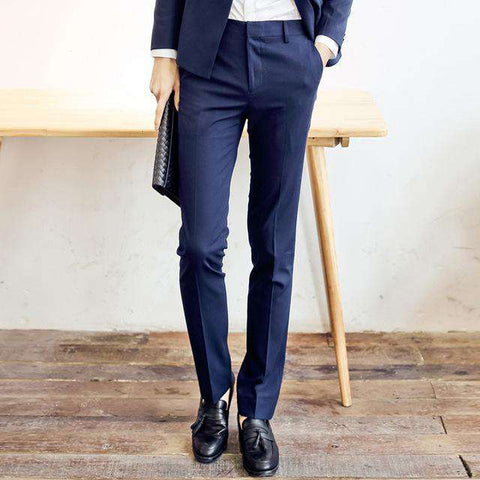 Formal Slim Fit Navy Blue Dress Pants