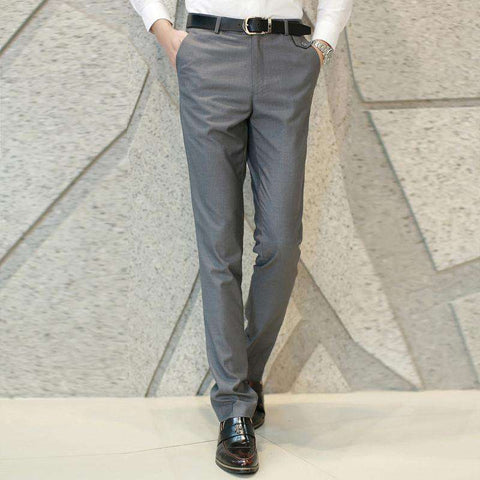 Men's Formal Slim Fit Dress Pants Grey