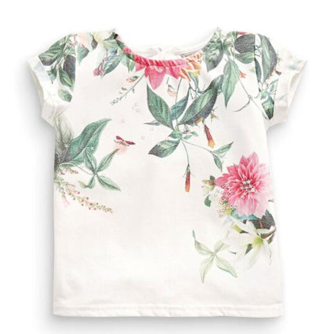 summer baby girls short sleeve flower print t shirt