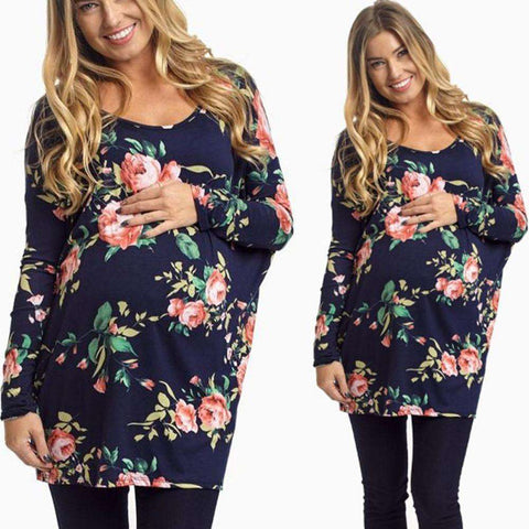 Long Sleeve Floral Printed Loose Blouse For Maternity