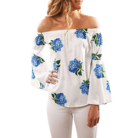 Off Shoulder Long Sleeve Floral Printed Blouse