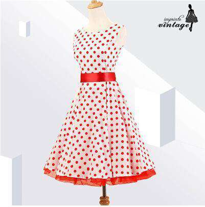 dot print A-line sleeveless dress