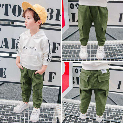 Casual Toddler Kids Trousers Pocket Velvet Pants