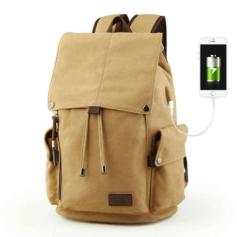 Mens Canvas Multifunction USB Charging Men Travel Bag